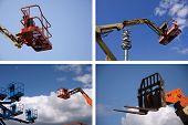 picture of cherry-picker  - photo cherry picker raised into a blue sky - JPG