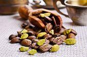 foto of cardamom  - Coffee beans and cardamom on burlap a - JPG