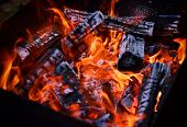 picture of brazier  - burning wood in a brazier close up - JPG