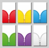 stock photo of zipper  - Zippers in six different colors  - JPG