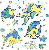 stock photo of creatures  - Illustration of a group of sea creatures on a white background - JPG