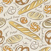 stock photo of baps  - Background with different breads. Ideal for printing onto fabric and paper or scrap booking. - JPG