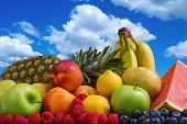 picture of puffy  - Assortment of exotic fruits and blue sky with puffy white clouds - JPG