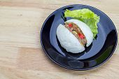 stock photo of quail  - Chinese steamed bun with crab stick quail egg and pork stuff - JPG