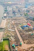 stock photo of land development  - Top view of building construction site preparing the land - JPG