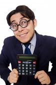 stock photo of cheater  - Funny man with calculator isolated on white - JPG