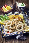 picture of squid  - Fried Squid Rings with Potatoes - JPG