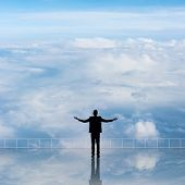 image of cloudy  - Man look and discover against the cloudy sky with copyspace - JPG