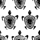 stock photo of sea-turtles  - Vector seamless summer grunge pattern - JPG