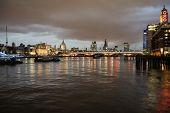 stock photo of london night  - Skyline of London at night - JPG
