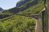 picture of railcar  - Flamsbana train in motion during the journey - JPG