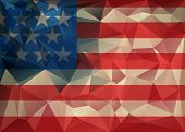 stock photo of polygon  - Abstract polygonal triangle USA flag background Geometric low poly illustration - JPG