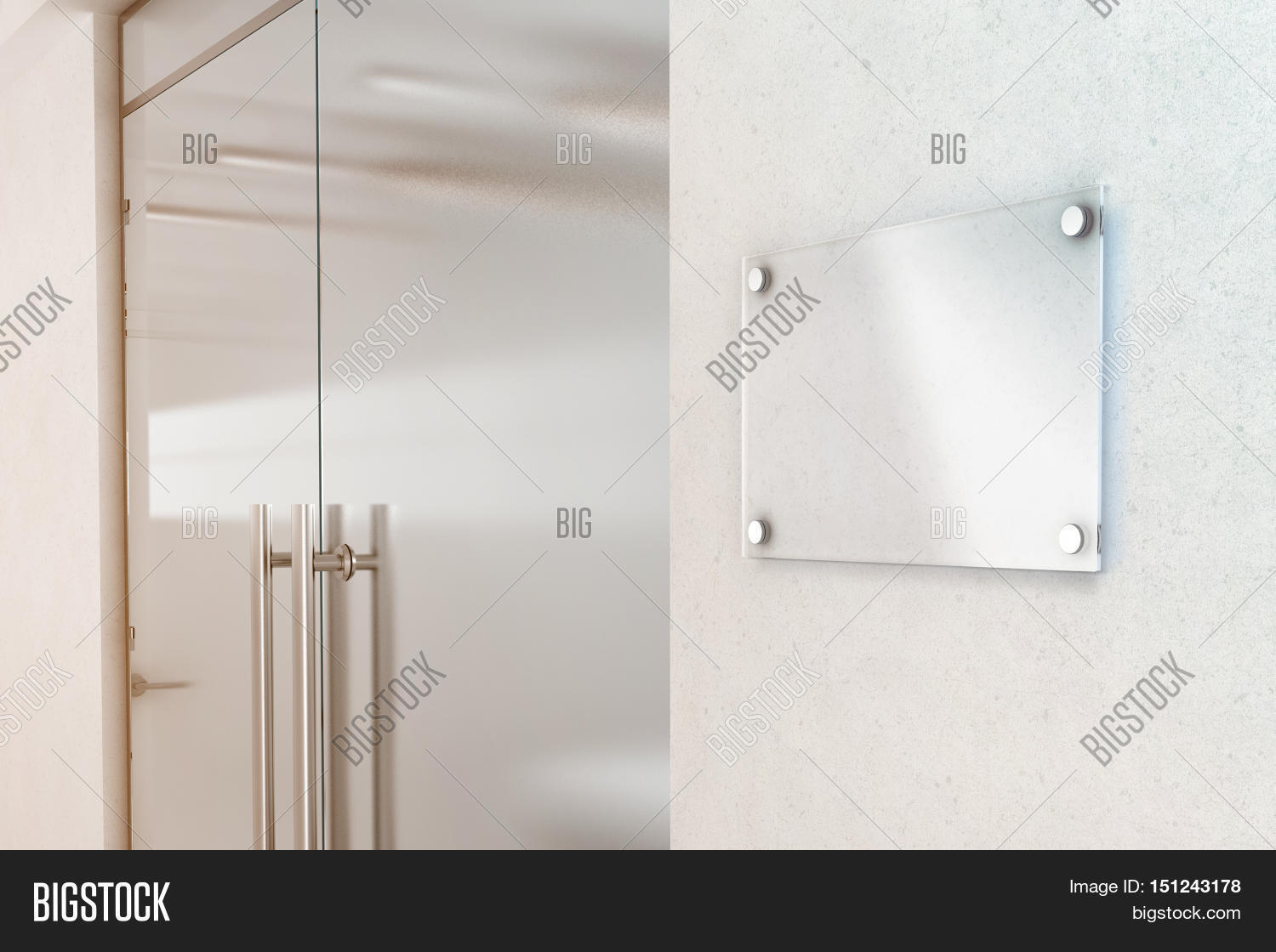 Blank Transparent Glass Sign Plate Design Mockup 3d Rendering Nameplate Mock Up On The Wall