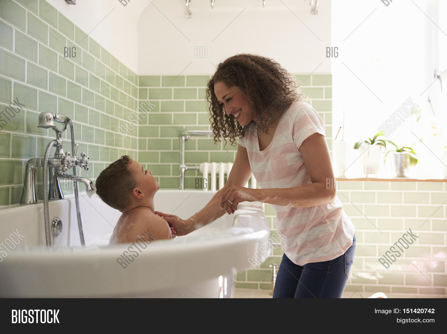 Mother son having fun bath time image photo bigstock for Mom and son in bathroom