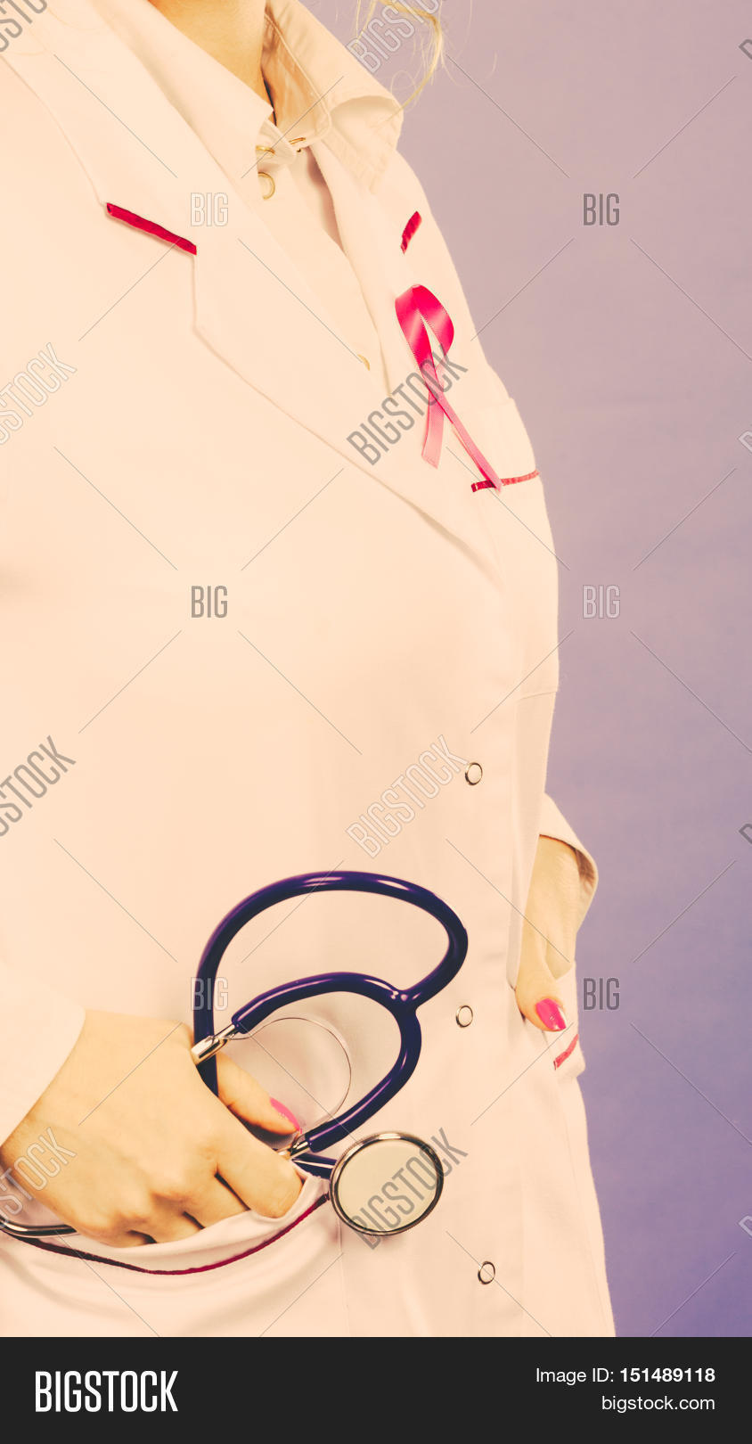 White apron health - Women Fight For Health Breast Cancer Tumor Concept Pink Ribbon On White Medical Apron