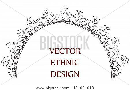 Vector semicircular tattoo henna pattern. Isolated pattern for design on white background.