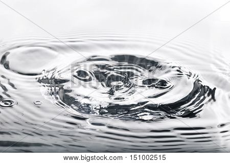 Liquid silver metal abstract water drops waves and ripples.