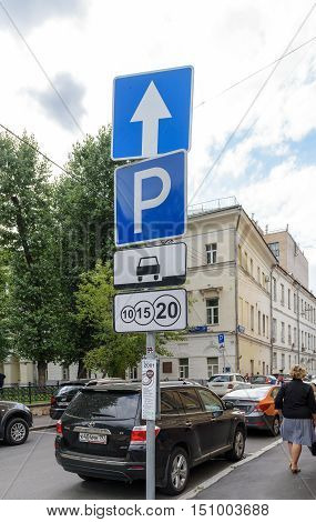 Moscow, Russia - July 14, 2016: Road sign indicating the place of paid parking on the street