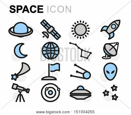 Vector flat line space icons set on white background
