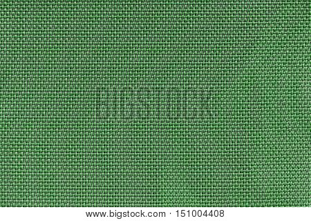 corrugated texture of rough fabric of green color with an interlacing of threads for a woven background and for wallpaper