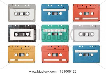 collection of retro cassette tapes on white background