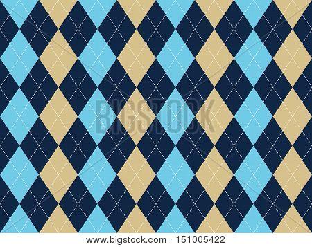 Blue beige white argyle seamless pattern. Flat design. Vector illustration.