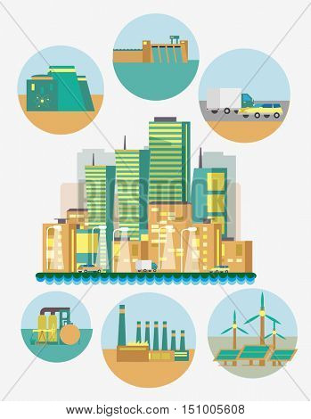 Flat vector illustration on energy sources. Electric power for city and urban areas. Wind, nuclear, solar, hydrogen and other energy use.