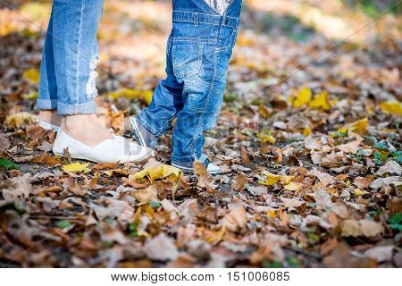 First Steps baby. Mom helps son to make first shagi.Nogi mother with Malysz walk on the leaves.
