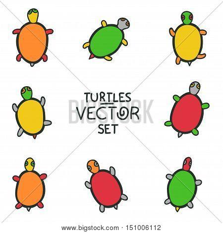 set of cartoon turtles isolated on white background. animal vector sketch. Children illustration. turtle symbol