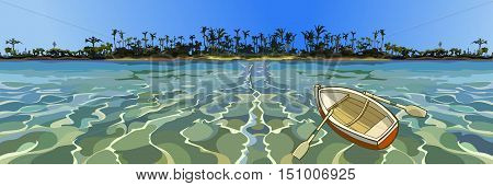 cartoon empty boat floating in the sea off tropical coast
