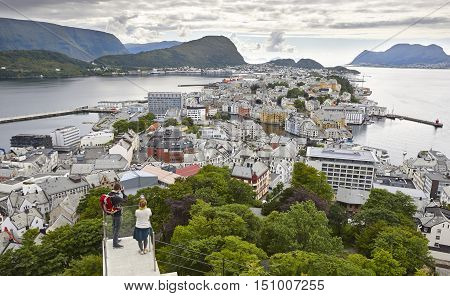 Norway. Aerial european rural city view. Alesund. Kniven viewpoint. Travel scandinavian
