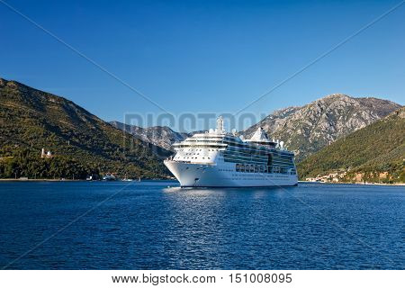 Cruise ship in the Bay of Kotor Montenegro