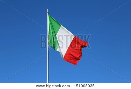 Italian Flag With The Colors Red White And Green And The Sky