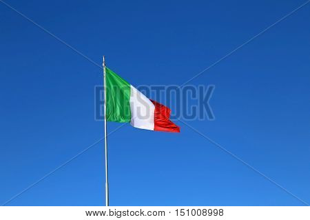 Italian Flag With The Colors Red White And Green And The Sky Blu