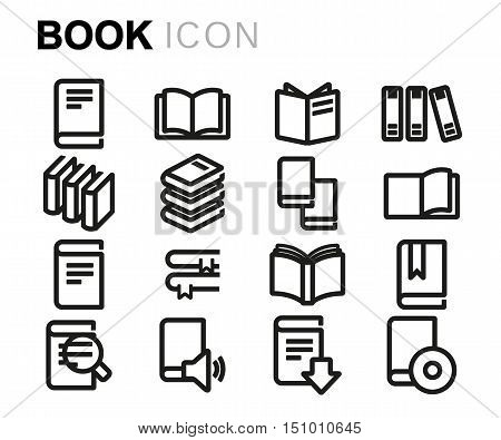 Vector black line book icons set on white background