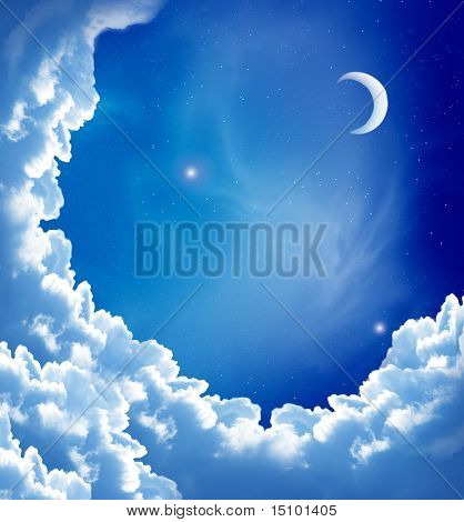 moon and beautiful clouds
