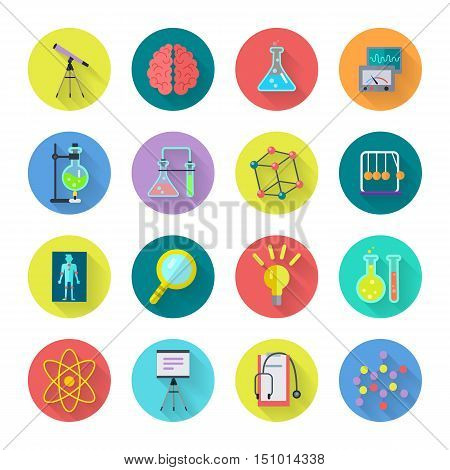 Collection of scientific vector icons. Flat design. Laboratory tools, atomic lattice, loupe, bulb, brain illustrations for scientific, educational, medical concepts, app buttons. Isolated on white