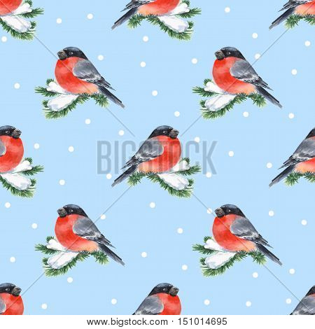 Bullfinch and snow. Seamless background 3 with bird on branch. Watercolor pattern