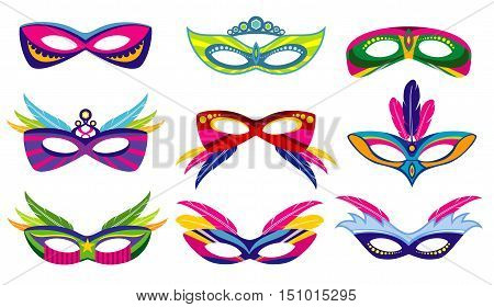 Isolated color mardi gras masks vector collection. Masquerade and carnival party illustration