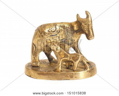 Golden statue cow and calf isolated on white