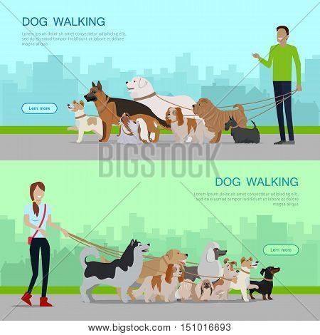 poster of Professional dog walking banners set. Young man and woman walking with group of different breeds dogs on urban background. Dog service. Vector illustration in flat. Cartoon dog character, pet animal