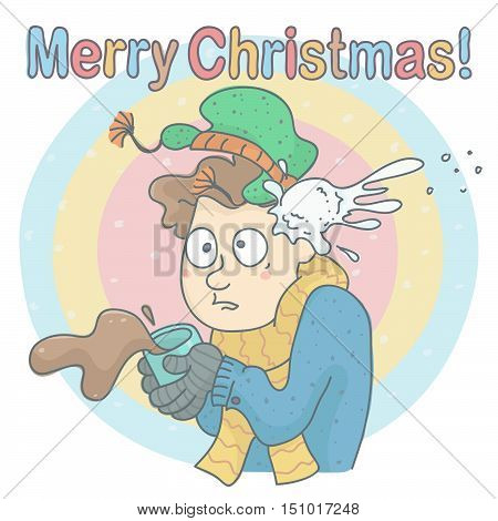 Funny man drinking coffee in winter day, being hit by snowball, all on colorful background. Christmas vector card of man with coffee, shocked by snowball hit.