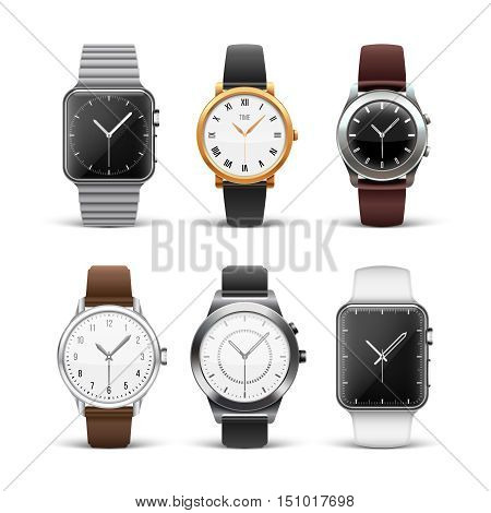 Classic watches isolated on white vector set. Wristwatch silver and gold illustration