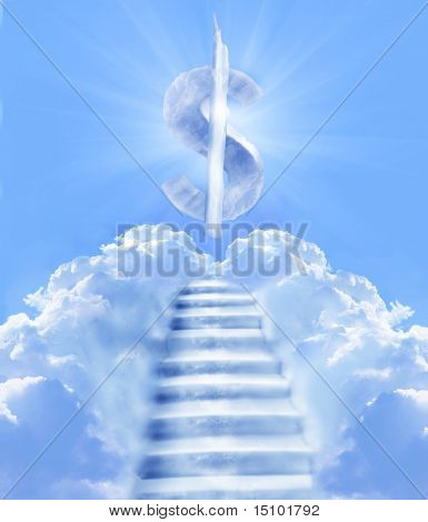 stairs in sky with dollar symbol on the top