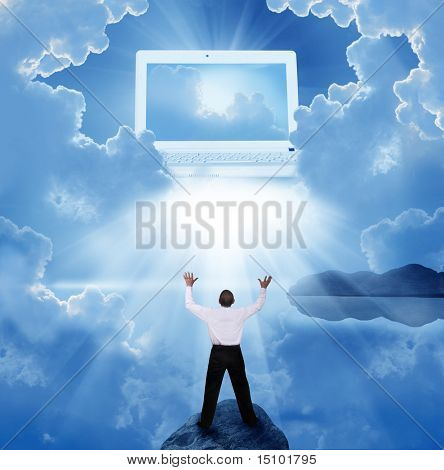 Cloud computing concept. Businessman in prayer
