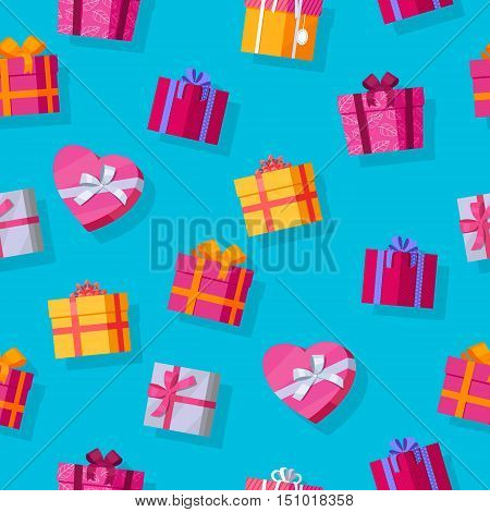 Seamless pattern gift boxes. Colorful wrapped gift boxes. Beautiful present box with overwhelming bow. Various gift boxes on blue background. Gift symbol. Christmas gift box. Vector illustration