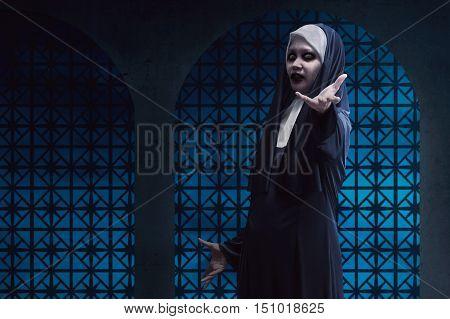 Scary Asian Nun Lend Hand On