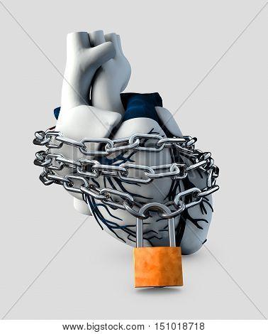 3d Illustration of Anatomy Lock Human Heart - Isolated on black