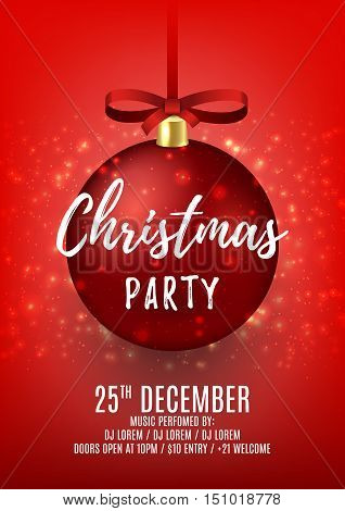 Christmas party flyer with red ball. Elegant vector illustration with snow. Beautiful background with shining sparks. Design of invitation to night club.