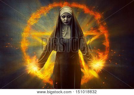 Pentagram And Devil Nun